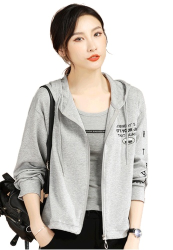A-IN GIRLS grey Simple Letter Hooded Jacket C3BE5AA42EADC1GS_1