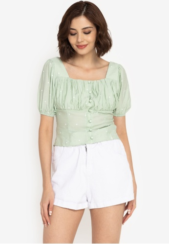 ZALORA BASICS green Ruched Button Front Top 2D8B4AAB78ABDCGS_1