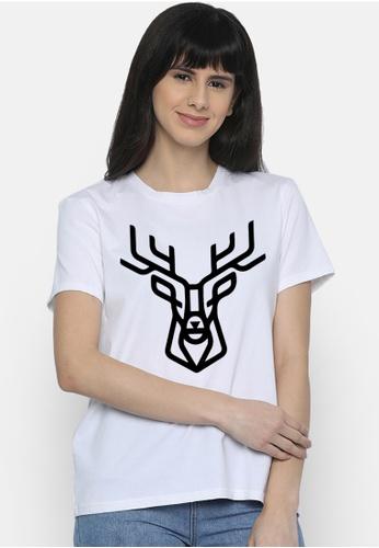 Greatvalueplus white Deer  Women's Roundneck T-shirt 90141AA1C4A20DGS_1