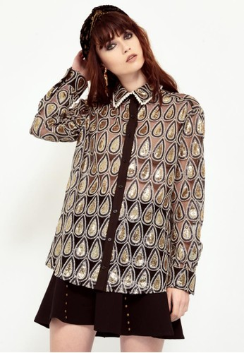 淚滴型鑲亮esprit台灣門市片襯衫, 服飾, 襯衫