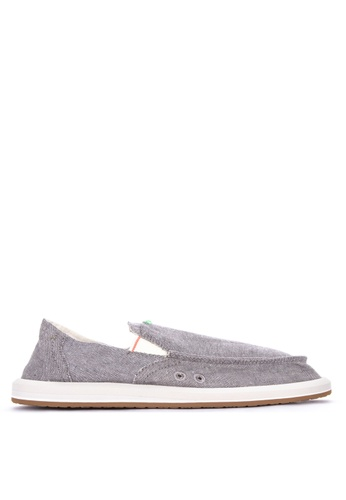 Sanuk grey Pick Pocket Chambray Slip-Ons 50A0DSHCA36C83GS_1