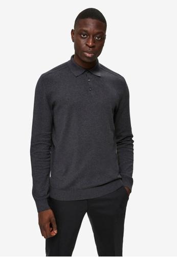 Selected Homme black Berg Long Sleeves Polo Shirt C5FA5AA89B2D20GS_1