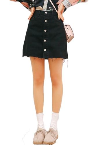 Shopsfashion black Denim Torn Mini Skirt in Black DD701AA43880EAGS_1