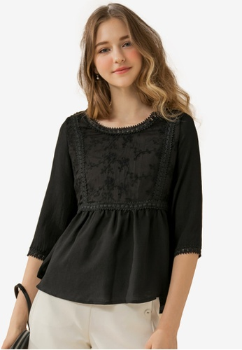 Eyescream black Embroidered Lace Top 3A9AEAA549D783GS_1
