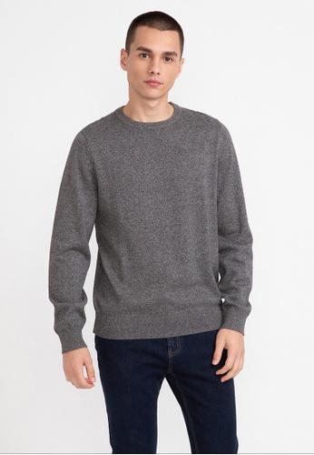 Bossini black Solid Round Collar Sweater 4FE86AAC58F876GS_1