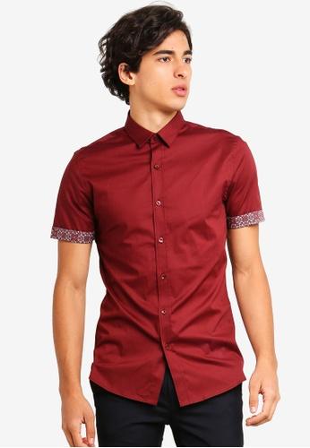 Topman red Burgundy Geometric Turn Up Shirt 0AAB7AAFAFA813GS_1