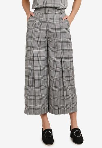 ZALORA grey Checkered Pleated Pants 0677BAAA3ADC2EGS_1