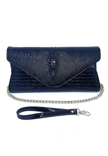 acb9ecf56ad100 BELLE LIZ black Chain Leather Ladies Purse Clutch Bag Black  DAE79AC6A934E5GS_1