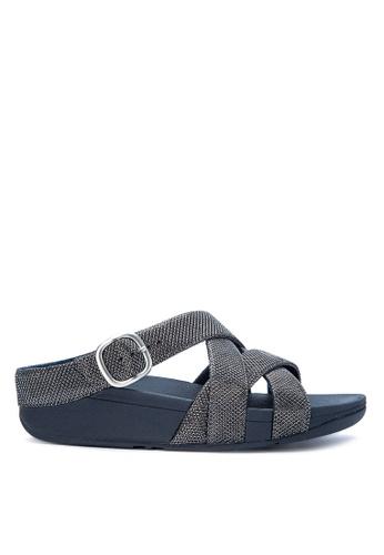 FitFlop navy The Skinny Sparkle Crisscross Sandals FI188SH0KA9FPH_1