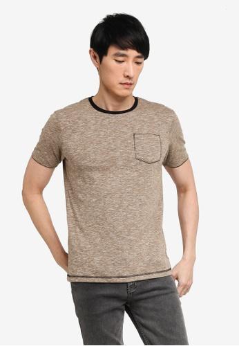 Fidelio brown Fit In Contrast Collar Tee E4F51AA448B5BEGS_1