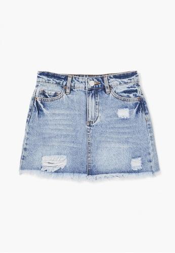 FOREVER 21 blue Frayed Denim Skirt 553FFKA7A95ABAGS_1