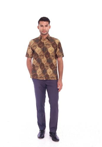 TUSCA brown Eusoff Classic Batik Shirt D42CFAA726783CGS_1