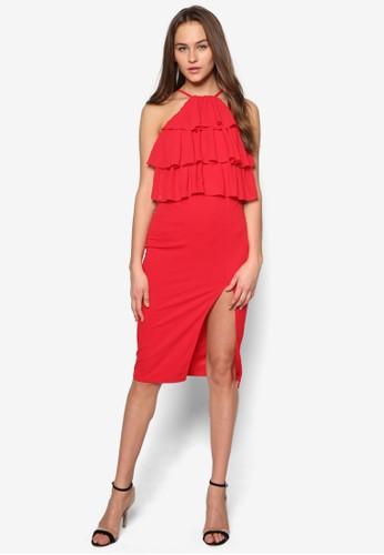 荷葉zalora 包包評價層次削肩連身裙, 服飾, 服飾