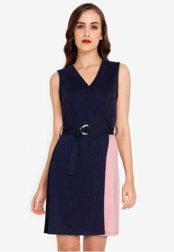 ZALORA WORK multi V Neck Colourblock Dress 99857AA02E935EGS_1