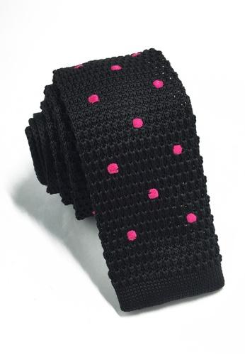 Splice Cufflinks Weave Series Bright Pink Polka Dots Black Knitted Tie SP744AC65KUCSG_1