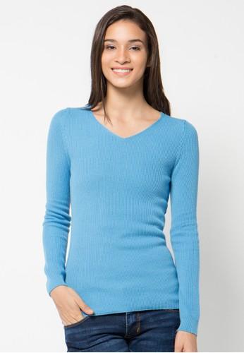 Noir Sur Blanc blue Ladies Vneck Long Sleeve NO321AA25VSSID_1