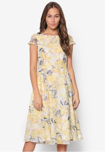 花卉印花傘擺洋裝, 服飾, esprit台灣outlet洋裝