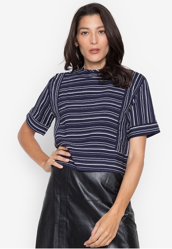 Seventh Cherie blue Short Sleeves Stripes Top 0B0A4AAD421147GS_1