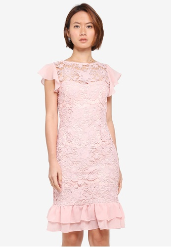 Paper Dolls pink Crochet Lace Chiffon Ruffle Detail Dress 9AFD1AA8B75346GS_1