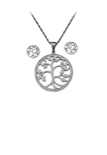 Glamorousky white Fashion and Elegant Tree Of Life 316L Stainless Steel Necklace and Stud Earrings Set with Cubic Zirconia 3A3B5AC3EBFCADGS_1