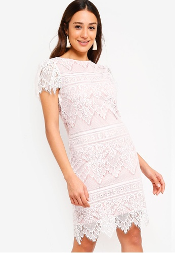 ZALORA white and pink Flare Sleeves Bodycon Lace Dress 437EEAA5066F3CGS_1
