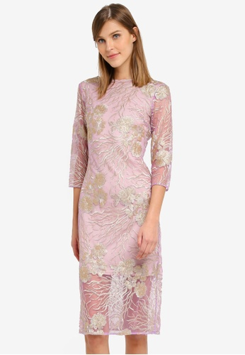 Miss Selfridge pink Lilac Mesh Dress MI665AA0SLEBMY_1