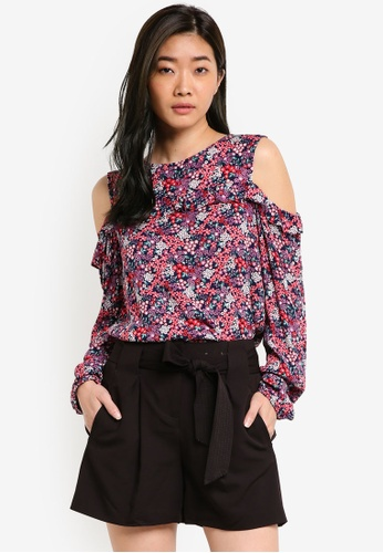 Dorothy Perkins multi Fuchsia Floral Cold-Shoulder DO816AA30DCRMY_1