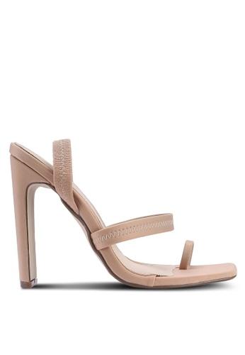 MISSGUIDED 米褐色 後繞帶夾趾高跟鞋 8CABFSHE532287GS_1