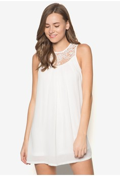 Lace Yoke Pleated Swing Dress