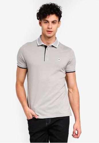 Penshoppe 灰色 刺繡POLO衫 C969BAAF74F46CGS_1