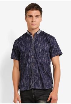 【ZALORA】 Mandarin Collar Printed Short Sleeves Shirt