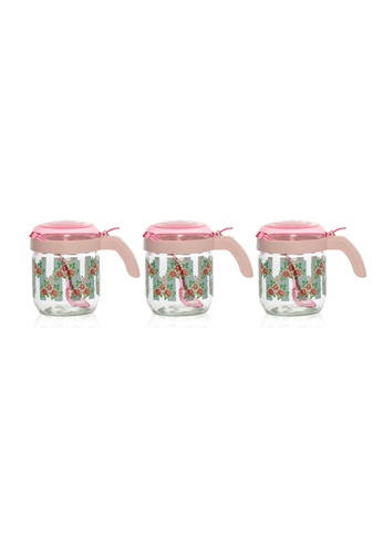 Herevin Herevin 3 Pcs 425ML Decorated Spice Jar Set with Spoon / Container Set / Food Storage Set - Belinda 1AA52HL0DF50F4GS_1