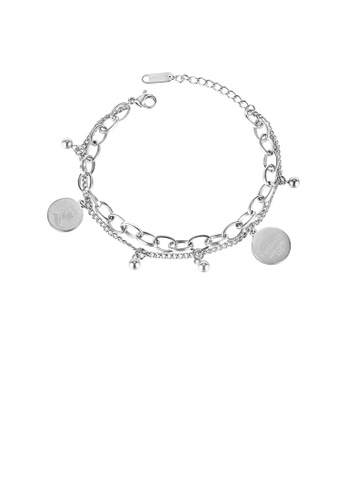 Glamorousky silver Simple and Fashion Portrait Round Brand 316L Stainless Steel Double-layer Bracelet F9A7AACF8B1932GS_1