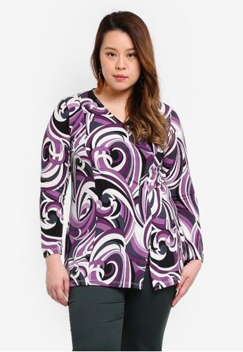 Ex'otico purple Plus Size Long Sleeve Overlap Tunic Top FDAC9AA1A738F9GS_1