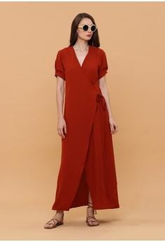 b8580bd8af24f0 Wearstatuquo red Aise Maxi Wrap Dress 135EBAA9A885D3GS 1