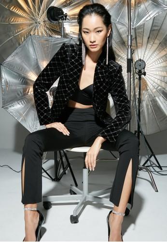 Pomelo black Milin x Pomelo Velvet Diamante Fringe Blazer - Black AE89EAAE2ED4C4GS_1