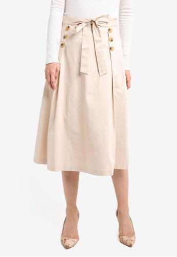 ZALORA beige Buttoned A-Lined Skirt 5CD92AAAE63222GS_1