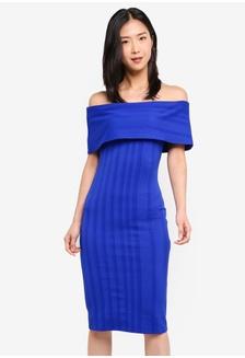 4b285f581f3e26 Textured Bardot Dress 74205AAB4B6DCBGS 1