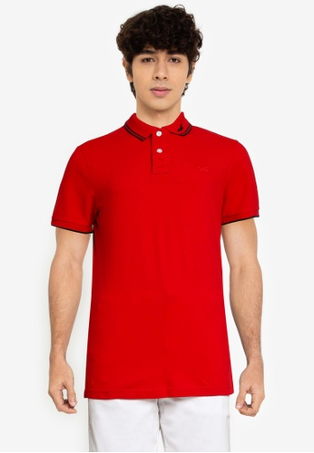 Hollister red Icon Tipped Polo Shirt 7F792AA34355F1GS_1