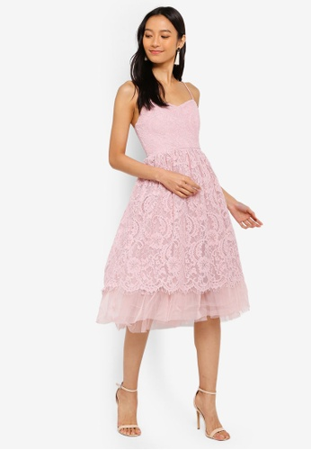 031305bd257b Buy Miss Selfridge Petite Blush Lace Tulle Dress Online on ZALORA Singapore