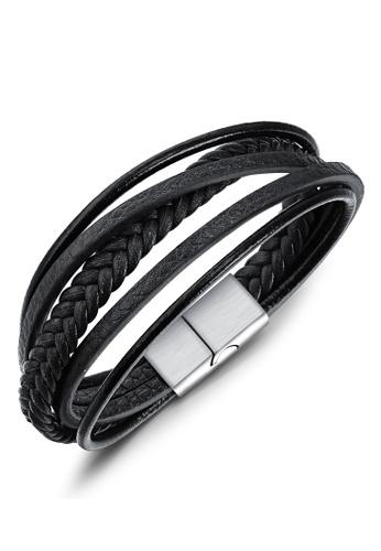 Trendyshop black Men's Leather Bracelet 7DAAFAC5C55945GS_1