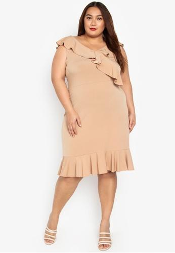 54699757720 Ashley Collection Plus beige Plus Size V-Neck Ruffle Dress  55333AA4744610GS_1