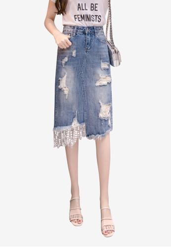 Lara blue Women Stitch Sequins Rips Details Denim Skirt 75191AAF0B2783GS_1