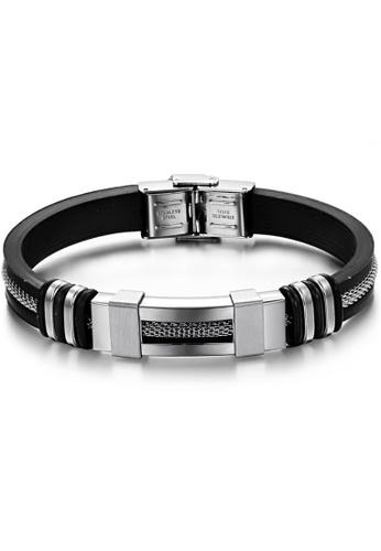 YOUNIQ black YOUNIQ Silver Silicone with Steel Line Bracelet for Men YO999AC85TFAMY_1