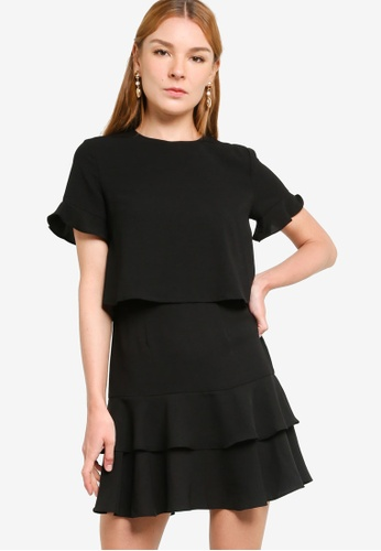 ZALORA WORK black Fit And Flare Layered Dress C5C50AAA79D755GS_1
