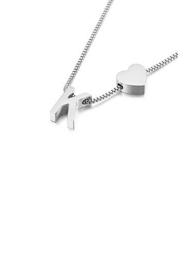 Glamorousky silver Simple and Fashion Heart-shaped English Alphabet K 316L Stainless Steel Pendant with Necklace 92D01AC80FBA19GS_1