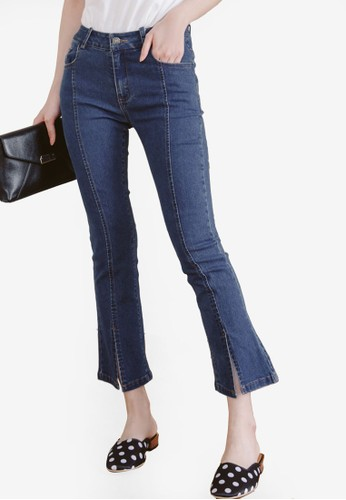 Eyescream blue Slit Flare Cropped Jeans 8F76CAA4C83327GS_1
