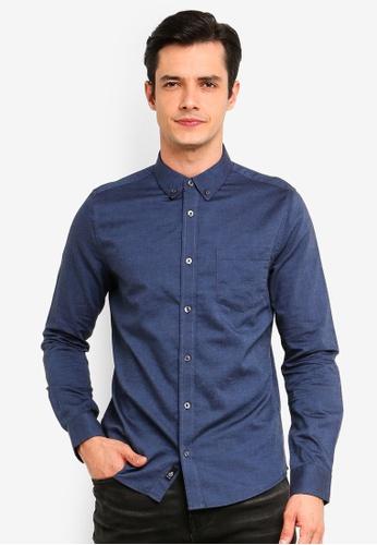 Burton Menswear London 藍色 丹寧長袖襯衫 9AB52AA3910687GS_1