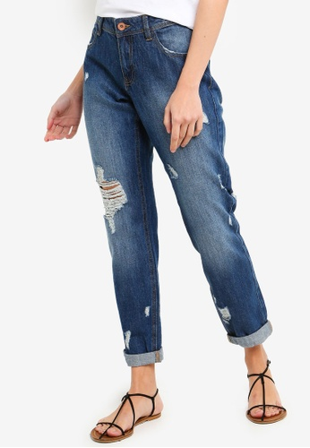 OVS blue Girlfriend Fit Cropped Jeans 1BC40AA84D04BDGS_1