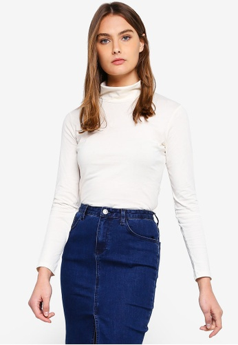 Calvin Klein white and multi Long Sleeve Roll Neck Tee - Calvin Klein Jeans 4D1A4AA16BFB8AGS_1